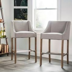 Shop for Aoki Upholstered Beige 30-inch Barstool by Kosas Home. Get free shipping at Overstock.com - Your Online Furniture Outlet Store! Get 5% in rewards with Club O! - 15940195