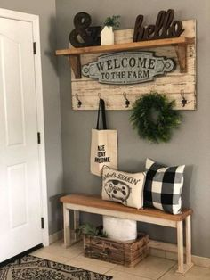 Article Gives You The Facts On Farmhouse Decor Living Room Wall Color 85 Decor Article Color Facts Farmhouse Living Room Wall Diy Home Decor Rustic, Rustic Entryway, Country Farmhouse Decor, Modern Farmhouse, Country Chic, Small Entryway Decor, Country Wall Decor, Farmhouse Bench, Farmhouse Kitchens