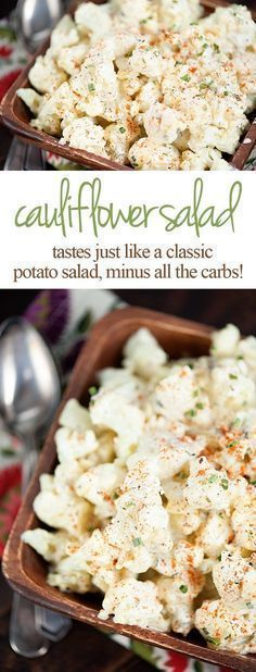 This mock potato salad recipe is the perfect low carb keto recipe for any potato salad cravings you might have! It's made with cauliflower but tastes like the real thing! #Lectins
