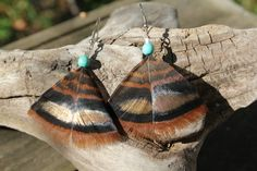 Turkey Feather Earrings w/ Turquoise Howlite Beads on Etsy, $10.00