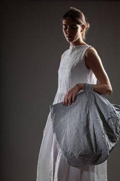 linen medium duffel bag with thin vertical stripes - DANIELA GREGIS