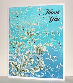 """""""Thank you"""" Card created by Barb / Enjoying Life. """"I white embossed the Leafy Vines onto white paper, then used the emboss resist technique with three different blue Distress Inks, then added some green to the leaves with a Tombow marker"""". Paper Cards, Diy Cards, Your Cards, Card Making Inspiration, Making Ideas, Hero Arts Cards, Embossed Cards, Card Making Techniques, Distress Ink"""