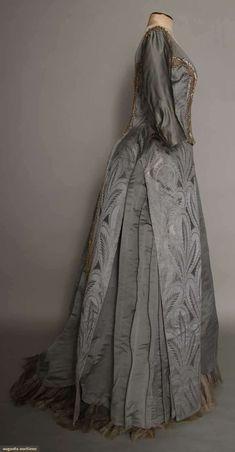 Augusta Auctions, March 30, 2011 - St. Pauls, Lot 152: Blue Grey Silk Reception Gown, Paris, 1885
