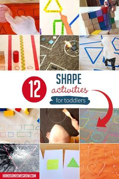 These 12 hands on shape activities for toddlers year olds) will make it hip to be square! Toddlers will have fun learning shapes in a hands on way. Movement Activities, Gross Motor Activities, Shape Activities, Creative Activities, Sensory Activities, Hands On Activities, Teaching Shapes, Teaching Kids, Fun Learning