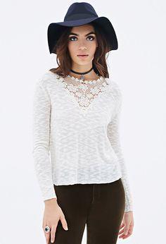 Crochet-Paneled Sweater | FOREVER21 - 2052288110