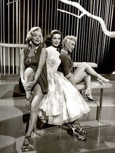 Marilyn Monroe, Lauren Bacall and Betty Grable photographed on the set of How To Marry a Millionaire (1953)  Photo by Jean Howard