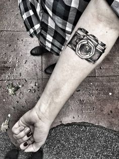 What does camera tattoo mean? We have camera tattoo ideas, designs, symbolism and we explain the meaning behind the tattoo. Body Art Tattoos, New Tattoos, Tattoos For Guys, White Tattoos, Arrow Tattoos, Word Tattoos, Temporary Tattoos, Disney Tattoos, Camera Tattoo Design