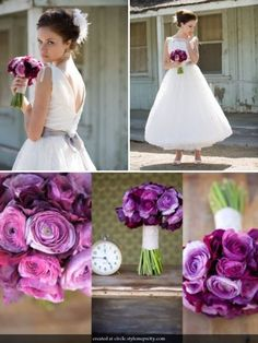 purple ranunculus :  wedding Ranuculus And Anemone Boquet