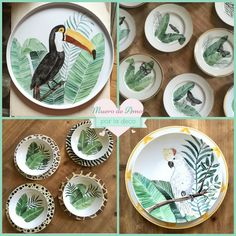 Pottery Painting Designs, Paint Designs, Ceramic Clay, Ceramic Painting, Plates And Bowls, Plates On Wall, Tropical Dinnerware, Dinner Sets, Tropical Decor