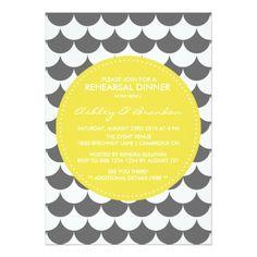 Gray and Yellow Mod Rehearsal Dinner Invitation
