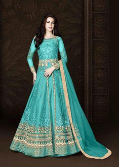 Sizzling SkyBlue Color Heavy Net Embroidered Wedding Wear Anarkali Suit - All About Western Suits, Western Dresses, Indian Dresses, Indian Outfits, Indian Clothes, Pakistani Dresses, Western Wear, Lehenga Suit, Anarkali Gown