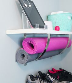 Small-Space Home Gym Hacks for Your Tiny Apartment Get your mats off the ground and use extra large wall brackets as a sneaky storage space.Get your mats off the ground and use extra large wall brackets as a sneaky storage space. Basement Gym, Garage Gym, Garage Attic, Attic Playroom, Attic Library, Attic Office, Attic Closet, Gym Room, Ikea Shelves
