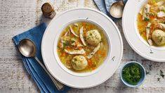 Fragrant chicken noodle soup recipe - BBC Food Crisp Bread, Hairy Bikers, Chicken Balls, Matzo Meal, Aromatic Herbs, Chicken Noodle Soup, Dinner Plates, Soup Recipes, Bbc