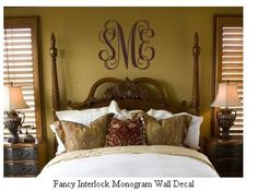 LOVE this above-the-bed monogram!