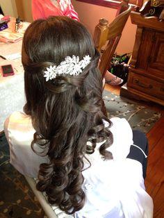 Bridal hair brown hair, long hair, headpiece,