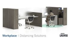 Our workplace distancing solutions provide environments that keep people healthy, safe and productive.  Create healthier workspaces with our soft seating, panel system, acrylic privacy screens, freestanding acrylic screens, fixed acrylic screens, surface lateral acrylic screens, end surface acrylic screens, laminate lateral gallery panels with acrylic screens and more!   #groupelacasse #workplacedistancing #physicaldistancing #staysafe #smartspaces #privacy Office Furniture, Office Desk, Panel Systems, Privacy Screens, Soft Seating, Workspaces, Surface, Cabinet, Storage