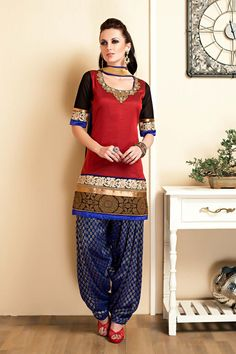 Red pure silk chudidar in zari work & royal blue net dupatta - SL2622