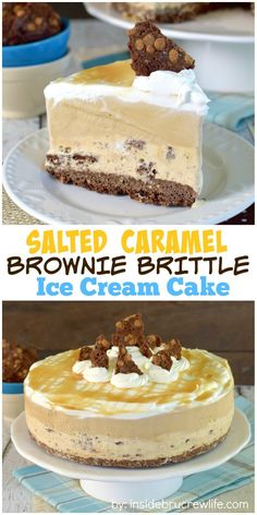 Layers of ice cream and Brownie Brittle make this such a fun no bake summer cake.