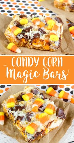 Candy Corn Magic Bars Recipe - Magic Cookie Bars for Halloween and the Fall Season