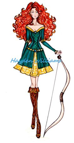 #Hayden Williams Fashion Illustrations: The Disney Diva's collection by Hayden Williams: Merida