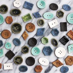 stocking stuffer gift idea ~ assorted button set ~ 6 large handmade ceramic buttons for scarf or bag or sewing project