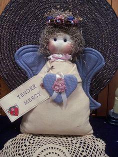 Primitive Whimsical Country Blue ANGEL Doll Shelf Sitter Door Stopper