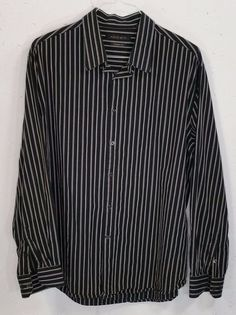 Express Modern Fit Mens Black Red Striped Cotton Long Sleeve ...