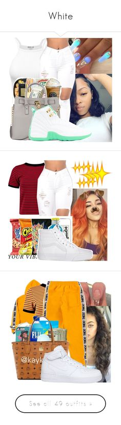"""""""White"""" by badleaa ❤ liked on Polyvore featuring Boohoo, Vans, NIKE, Victoria's Secret PINK, Michael Kors, Topshop, Only Play, H&M, LA: Hearts and Puma"""