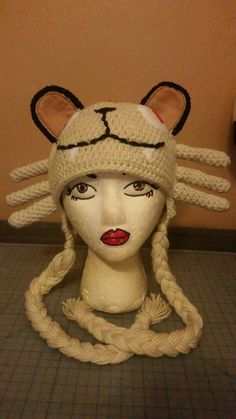 Crochet Pokémon #053 Persian inspired adult sized character hat with ear flaps and strings by MrsTsCrochet on Etsy
