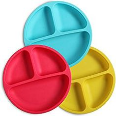 These plates are perfect for your little ones who are just learning to eat. Flexible, silicone material is easy to keep clean and easy to take on-the-go! Divided plates keep food separated for picky eaters. These children's plates have so many colored sets to choose from. These durable baby plates are dishwasher, microwave, oven and even freezer safe! The silicone material guarantees they're indestructible. This high-quality kids plate set is sure to meet all of your child's feeding needs.