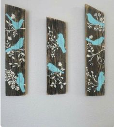 3 Relaimed Upcycled Country Custom Order Blue Birds Rustic Shabby Chic Wall Deco… 3 Relaimed Upcycled Country Custom Order Blue Birds Rustic Shabby Chic Wall Decor Sign Wood by aftr Rustikalen Shabby Chic, Shabby Chic Wall Decor, Rustic Decor, Rustic Wood, Rustic Barn, Pallet Crafts, Wood Crafts, Diy Crafts, Decor Crafts