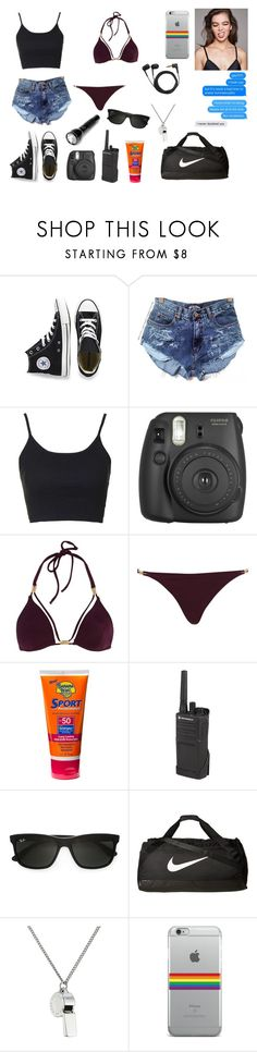 """""""Evie Thorne ((Summer Camp OC))"""" by gracenerada ❤ liked on Polyvore featuring Converse, Topshop, Fujifilm, River Island, Banana Boat, Motorola, Ray-Ban, NIKE, Bodhi and Marc by Marc Jacobs"""