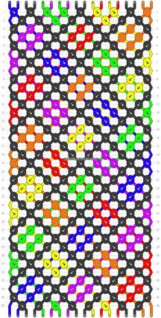 Normal friendship bracelet pattern variation added by Myrthe. sprinkle weave rainbow line. Friendship Bracelets Designs, Bracelet Designs, Braids With Weave, Bracelet Crafts, Basket Weaving, Rainbow Colors, Chevron, Crafty, Knitting