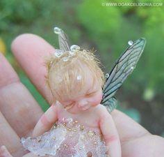 Dewdrop Fairy OOAK Sculpture in 1/12 scale by Celidonia on Etsy