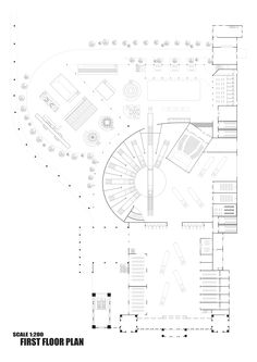 Ally, Alliya Suthikorncompee || Museum Park || First Floor || First Floor plan featuring all the zones, the train roundtable museum exhibit and the park layout at the back of the project.
