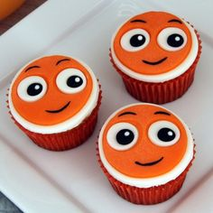 Nemo Cupcakes |Here's a baby shower treat that's guaranteed to make a splash -- a colorful school of cupcakes inspired by everyone's favorite little lost-and-found clownfish.