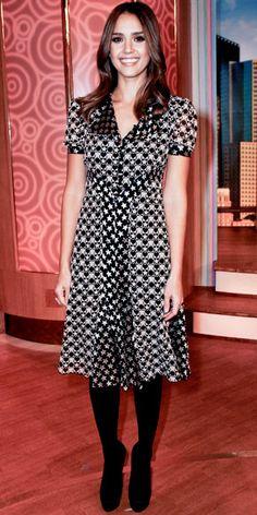 Jessica Alba in Anna Sui dress and satin pumps.