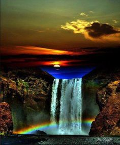 Who new a waterfall was so fragile and deli kit like glass. The energy must be heavy to make it that long.when you look up you'll see a dark blue that makes the waterfall. Beautiful Waterfalls, Beautiful Sunset, Beautiful Landscapes, Beautiful World, Beautiful Places, Beautiful Scenery, Cool Pictures, Beautiful Pictures, Belle Photo