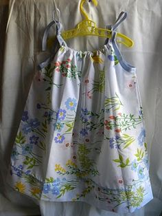 Pillowcase dress with elastic neckline and bias tape arm holes