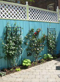 fun fence (for a small yard) (small rear garden ideas) Large Backyard Landscaping, Backyard Plan, Backyard Patio, Small Rear Garden Ideas, Backyard Ideas For Small Yards, Unique Gardens, Back Gardens, Outdoor Gardens, Blue Fence