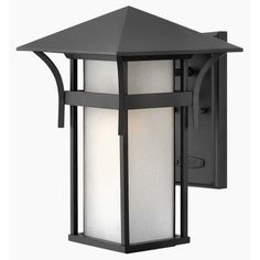 Hinkley Lighting 2574 13.5 Height 1 Light Lantern Outdoor Wall Sconce from the Harbor Collection (Titanium (Silver)) (Aluminum)