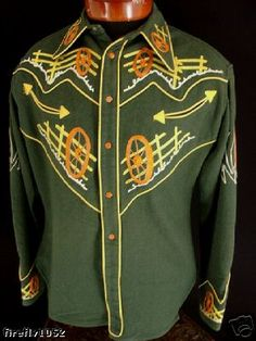 1940s men's western shirt with elaborate embroidery