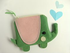 Wee Elephant Pouch in Green by blueberrybandit on Etsy, $32.00