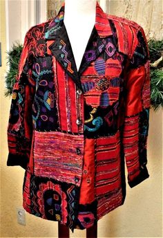 Chicos Design Art to Wear Embellished Block Jacket Sz 2(Med) Floral Accents Fun #ChicosDesign #Blazer