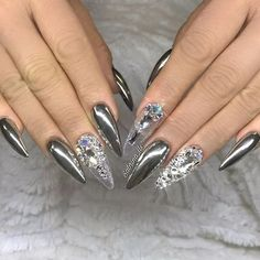 chrome nails top 33 cute silver nail art designs for pretty girlsSilver could be a color that may be carried as regards to in any manner you wish. it's a color that may be combined with a Silver Nail Designs, Chrome Nails Designs, Chrome Nail Art, Silver Nail Art, Metallic Nails, Nail Art Designs, Chrome Nails Silver, Bling Nails, Stiletto Nails