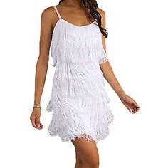 bce3bb9eba07 Women's Short All-Over Fringe Flapper Sleeveless Comfortable Day/Night Mini  Dress with Adjustable Bra Straps -- Want to know more, click on the image.