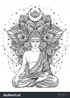 Sitting Buddha Statue over ornate mandala inspired pattern. Sitting Buddha Statue over ornate mandala inspired pattern. Inverno nadjainverno Malen Sitting Buddha Statue over ornate mandala […] tattoo indian Buddha Tattoo Design, Buddha Tattoos, Body Art Tattoos, Hand Tattoos, Sleeve Tattoos, Tatoos, Mandala Art, Mandala Design, Mandala Tattoo