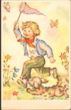 Vintage Postcard Children France Butterfly Dog 1950s Up 9 | eBay