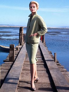 Designer: Edith Head Terrorized heroine Melanie Daniels (Tippi Hedren) wears only one outfit for most of this avian Hitchcock thriller. The director challenged designer Head