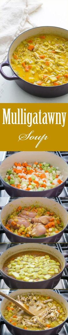 Chicken Mulligatawny Soup ~ Easy chicken curry soup, with chicken thighs, carrot, onion, Soup Recipes, Chicken Recipes, Cooking Recipes, Oven Recipes, Chicken Curry Soup, Soup And Sandwich, Soup And Salad, Soups And Stews, Gourmet